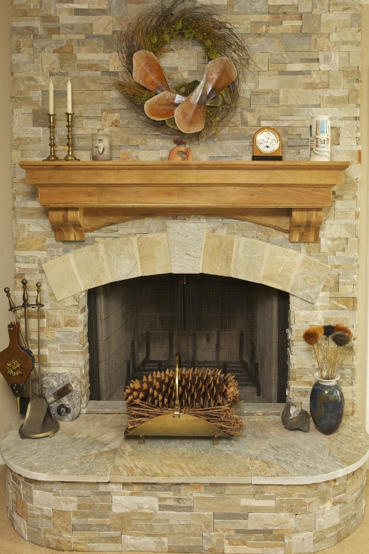 Stained and lacquered mantel